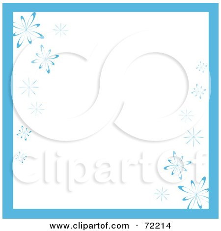 Royalty-Free (RF) Clipart Illustration of a White Background With Blue Trim And Snowflakes by Rosie Piter