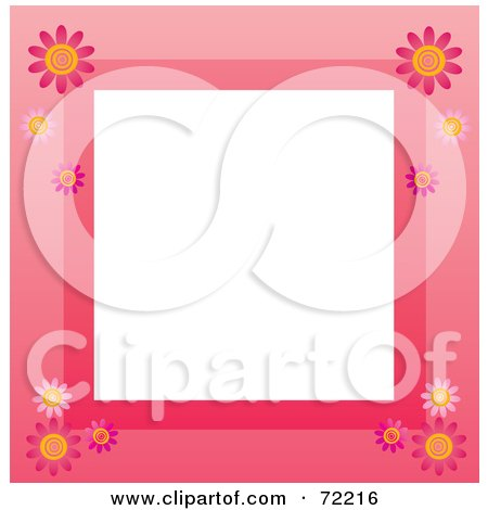 Royalty-Free (RF) Clipart Illustration of a Pink Border With Daisy Flowers Around White by Rosie Piter