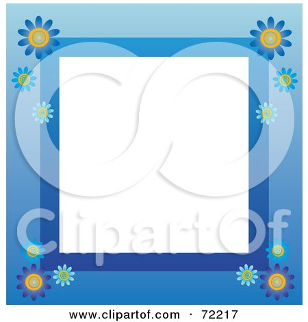 Royalty-Free (RF) Clipart Illustration of a Blue Border With Daisy Flowers Around White by Rosie Piter