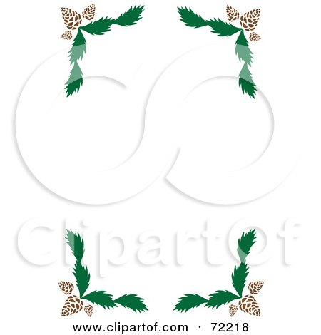 Royalty-Free (RF) Clipart Illustration of a White Background With Pine Cone And Branch Corners by Rosie Piter