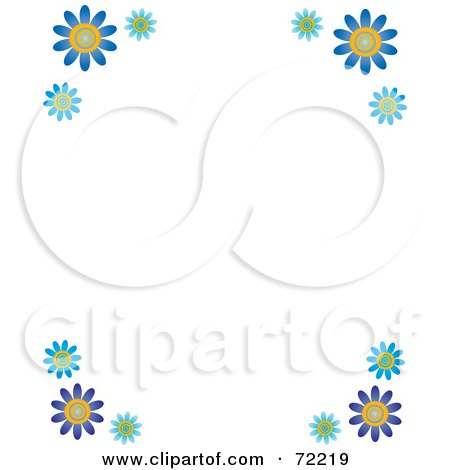 Royalty-Free (RF) Clipart Illustration of a White Background With Blue Daisy Flower Corners by Rosie Piter