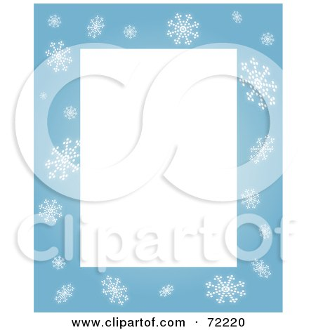 Royalty-Free (RF) Clipart Illustration of a Blue Snowflake Border Around Blank Rectangular Space by Rosie Piter