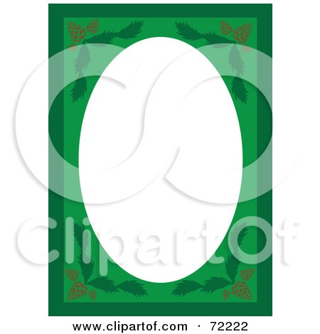 Royalty-Free (RF) Clipart Illustration of a Green Pinecone Frame Border Around A Blank White Oval Space by Rosie Piter