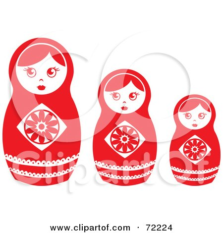 Royalty-Free (RF) Clipart Illustration of a Row Of Three White And Red Nesting Dolls by Rosie Piter