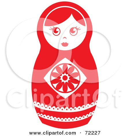 Royalty-Free (RF) Clipart Illustration of a White And Red Nesting Doll by Rosie Piter
