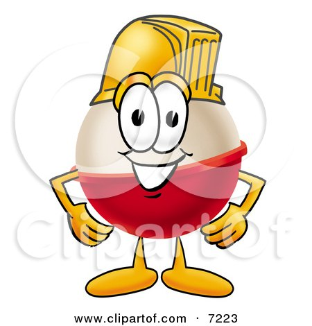 Clipart Picture of a Fishing Bobber Mascot Cartoon Character Wearing a Helmet by Toons4Biz