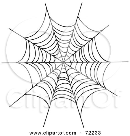 RoyaltyFree RF Clipart Illustration of a Black Creepy Spider Web by Rosie