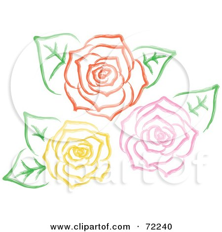 Royalty-Free (RF) Clipart Illustration of Yellow, Pink And Red Roses In Full Bloom With Leaves by Rosie Piter