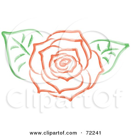 Royalty-Free (RF) Clipart Illustration of a Red Rose In Full Bloom And Two Green Leaves by Rosie Piter