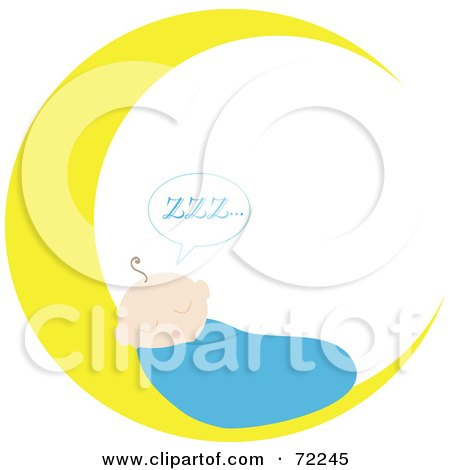 Royalty-Free (RF) Clipart Illustration of a Baby Boy Sleeping On A Crescent Moon by Rosie Piter