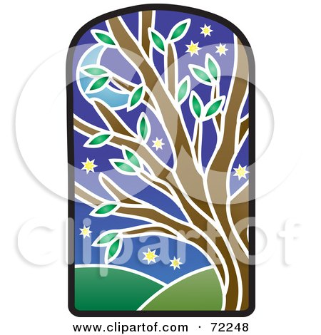 Royalty-Free (RF) Clipart Illustration of a Stained Glass Tree At Night by Rosie Piter