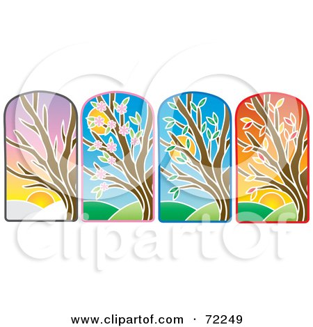 Royalty-Free (RF) Clipart Illustration of a Digital Collage Of Stained Glass Trees by Rosie Piter