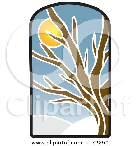Royalty-Free (RF) Clipart Illustration of a Stained Glass Winter Tree by Rosie Piter