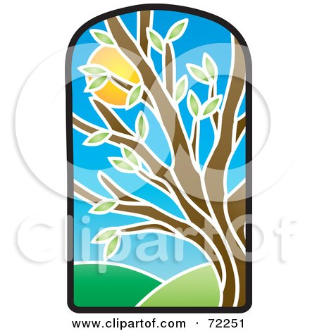 Royalty-Free (RF) Clipart Illustration of a Stained Glass Summer Tree by Rosie Piter