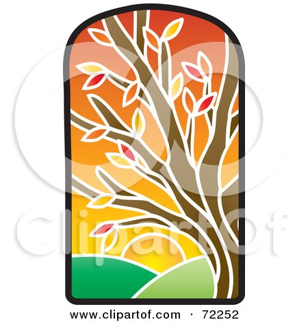 Royalty-Free (RF) Clipart Illustration of a Stained Glass Autumn Tree by Rosie Piter