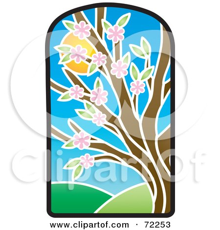 Royalty-Free (RF) Clipart Illustration of a Stained Glass Spring Tree by Rosie Piter