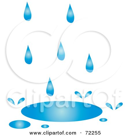 Royalty-Free (RF) Clipart Illustration of Blue Rain Filling Up A Puddle by Rosie Piter