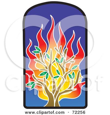 Royalty-Free (RF) Clipart Illustration of a Flaming Tree Stained Glass Window by Rosie Piter