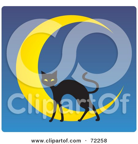 Royalty-Free (RF) Clipart Illustration of a Black Cat And Crescent Moon On Blue by Rosie Piter