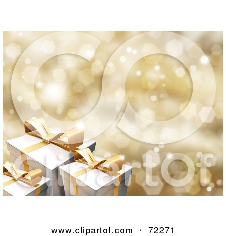 Royalty-Free (RF) Clipart Illustration of a Sparkly Gold Christmas Background With White Gift Boxes And Gold Ribbons And Bows by KJ Pargeter
