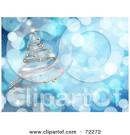 Royalty-Free (RF) Clipart Illustration of a Blue Sparkly Background With A 3d Silver Spiral Christmas Tree by KJ Pargeter