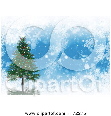 Royalty-Free (RF) Clipart Illustration of a Blue Background With White Snowflakes And A 3d Christmas Tree by KJ Pargeter