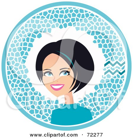 Royalty-Free (RF) Clipart Illustration of a Pretty Aquarius Woman In A Blue Circle With The Zodiac Symbol by Monica