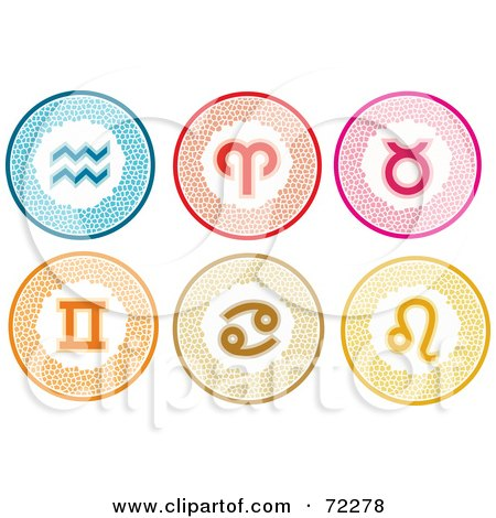 Royalty-Free (RF) Clipart Illustration of a Digital Collage Of Stylish Colorful Round Zodiac Icons; Aquarius, Aries, Taurus, Gemini, Cancer, And Leo by Monica
