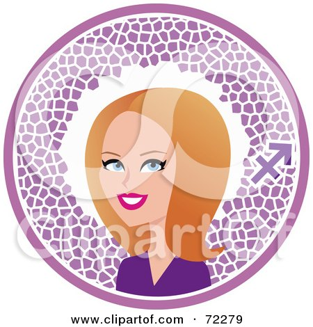 Royalty-Free (RF) Clipart Illustration of a Pretty Sagittarius Woman In A Purple Circle With The Zodiac Symbol by Monica