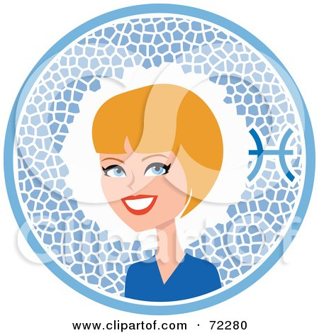 Royalty-Free (RF) Clipart Illustration of a Pretty Pisces Woman In A Blue Circle With The Zodiac Symbol by Monica