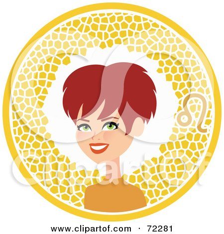 Royalty-Free (RF) Clipart Illustration of a Pretty Leo Woman In A Yellow Circle With The Zodiac Symbol by Monica