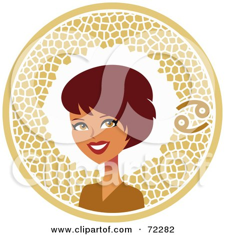 Royalty-Free (RF) Clipart Illustration of a Pretty Cancer Woman In A Brown Circle With The Zodiac Symbol by Monica