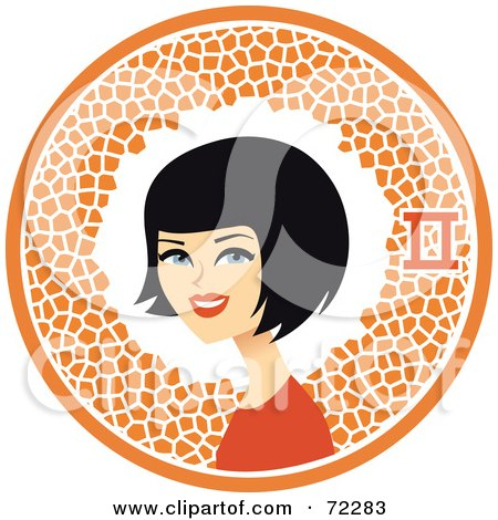 Royalty-Free (RF) Clipart Illustration of a Pretty Gemini Woman In An Orange Circle With The Zodiac Symbol by Monica