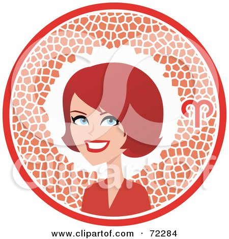 Royalty-Free (RF) Clipart Illustration of a Pretty Aries Woman In A Red Circle With The Zodiac Symbol by Monica