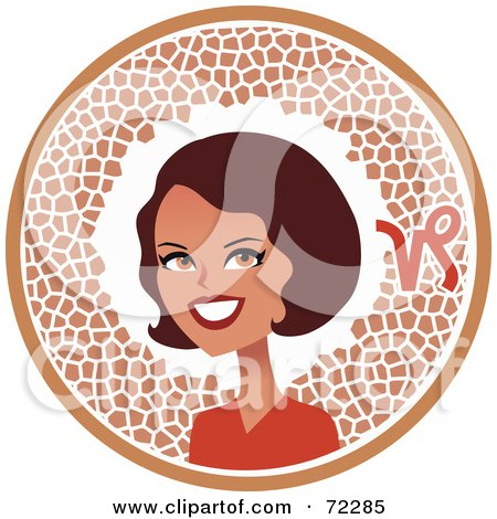Royalty-Free (RF) Clipart Illustration of a Pretty Capricorn Woman In A Brown Circle With The Zodiac Symbol by Monica