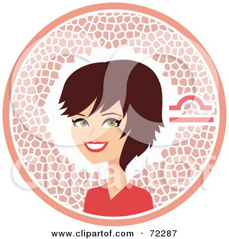 Royalty-Free (RF) Clipart Illustration of a Pretty Libra Woman In A Pink Circle With The Zodiac Symbol by Monica
