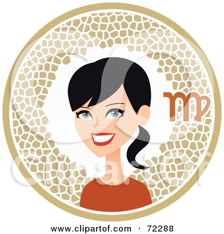 Royalty-Free (RF) Clipart Illustration of a Pretty Virgo Woman In A Beige Circle With The Zodiac Symbol by Monica