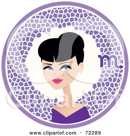 Royalty-Free (RF) Clipart Illustration of a Pretty Scorpio Woman In A Purple Circle With The Zodiac Symbol by Monica