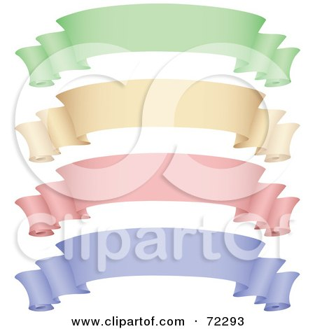 Royalty-Free (RF) Clipart Illustration of a Digital Collage Of Green, Beige, Pink And Purple Scroll Banners by cidepix