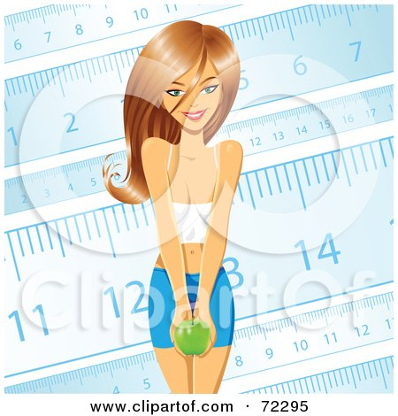 Beautiful Young And Healthy Woman Holding An Apple Against A Blue Ruler Background Posters, Art Prints