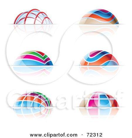 Royalty-Free (RF) Clipart Illustration of a Digital Collage Of Colorful Dome Icons by cidepix