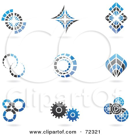 Royalty-Free (RF) Clipart Illustration of a Digital Collage Of Blue And Black 3d Cog Logo Icons by cidepix