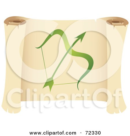 Royalty-Free (RF) Clipart Illustration of a Green Sagittarius Icon On A Parchment Scroll by cidepix