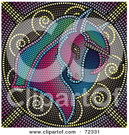 Royalty-Free (RF) Clipart Illustration of a Colorful Mosaic Tile Unicorn Background by cidepix