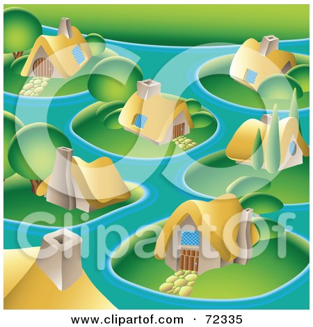 Royalty-Free (RF) Clipart Illustration of a Village With Cute Cottages On Islands by cidepix