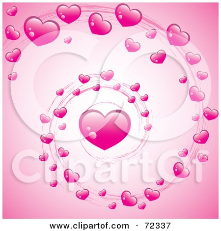 Royalty-Free (RF) Clipart Illustration of a Valentine Swirl Of Pink Hearts Over Pink by cidepix