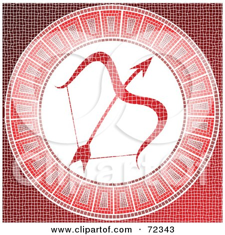 Royalty-Free (RF) Clipart Illustration of a Red Sagittarius Horoscope Mosaic Tile Background by cidepix