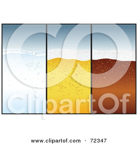 Royalty-Free (RF) Clipart Illustration of a Digital Collage Of Blank Vertical Water, Beer And Soda Banners by cidepix
