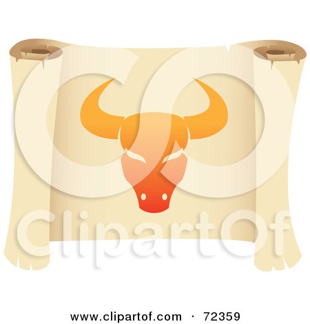 Royalty-Free (RF) Clipart Illustration of an Orange Taurus Icon On A Parchment Scroll by cidepix