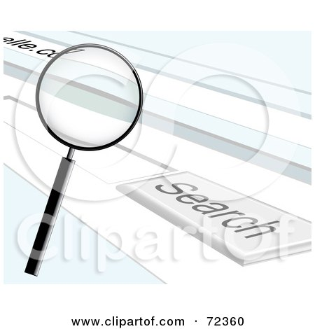 Royalty-free clipart picture of a magnifying glass over an internet browser